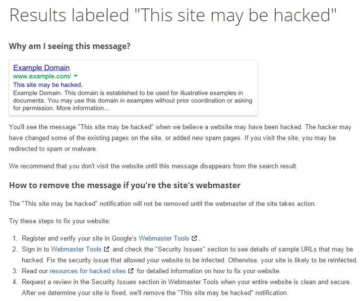Google-Hacked-Site-Warning